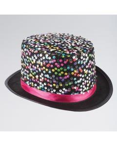 Cappello a Cilindro con Pailettes Multicolore