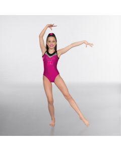1st Position Premium Gymnastic Body Senza Manica con Gemme - Rosa/Nero