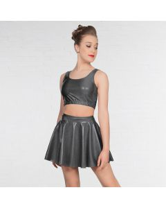 1st Position Metallic Circular Skirt Grey