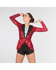 "1st Position "" Putting on the Glitz"" Tuta Playsuit in Paillettes - Rosso"